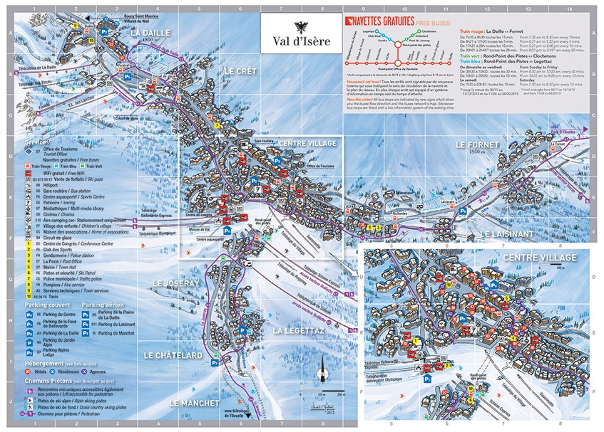 Plan du village val d 39 is re agence locations de vacances - Office du tourisme val d isere telephone ...